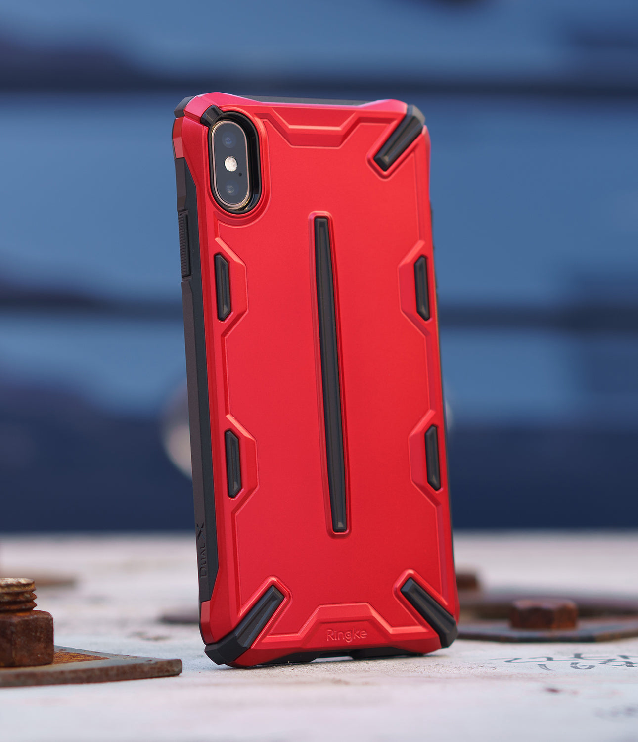 ringke dual-x for apple iphone xs max case cover main iron red