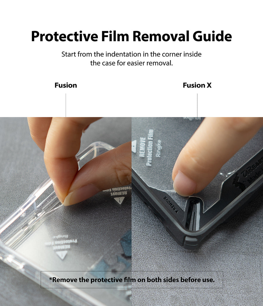 protective film removal guide - start from the indentation in the corner inside the case for easier removal