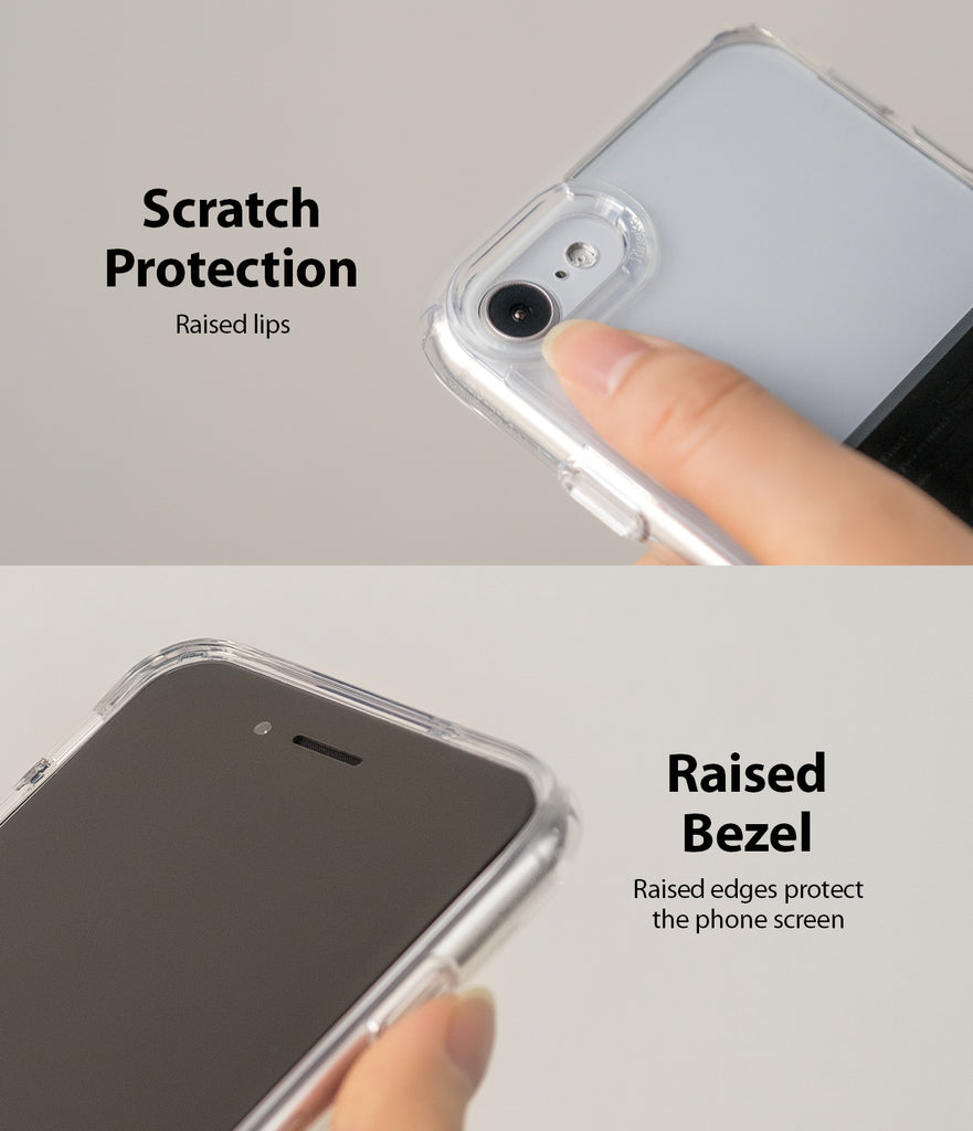 scratch protection raised lips with raised bezel and edges prtoect the phone screen