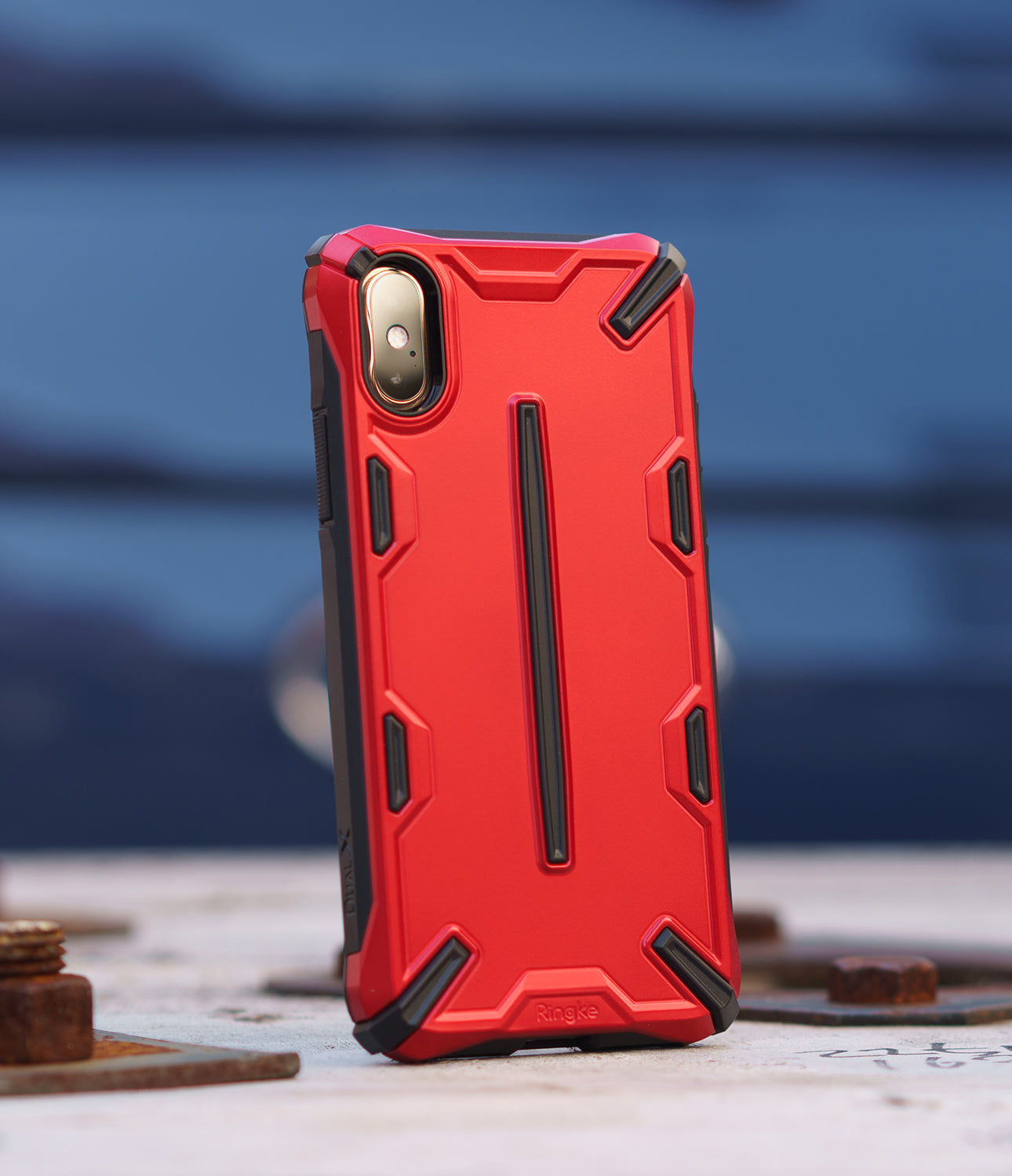 ringke dual-s for iphone xs case cover main iron red