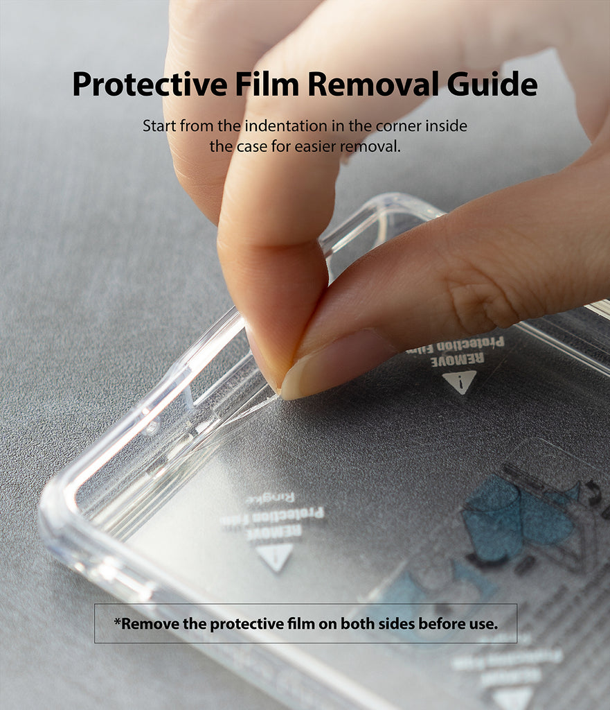 protective film removal - start from the indentation in the corner inside the case for easier removal