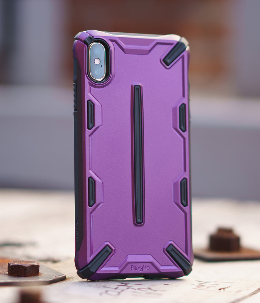 ringke dual-x for apple iphone xs max case cover main metallic purple