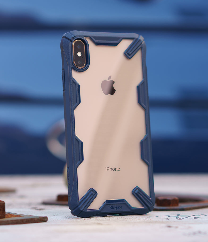 ringke fusion-x for apple iphone xs max case cover main space blue real image