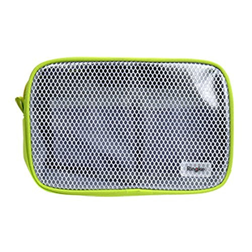 ringke pouch travel organizer bag multi function travel portable pouch mesh transparent vinyl window zippered top divided pockets tidy electric gadgets accessories cosmetic bag ash gray-s
