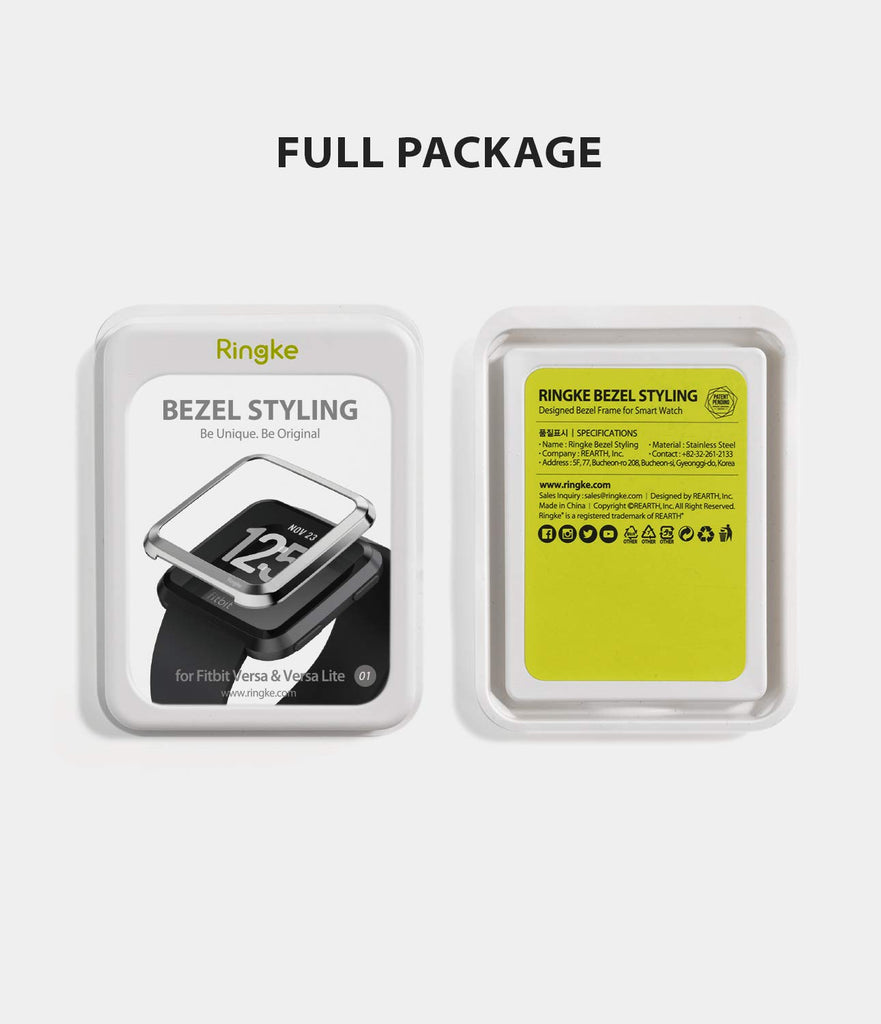 Ringke Bezel Styling Designed for Fitbit Versa Case Cover -Silver, FW-V-01, minimal package