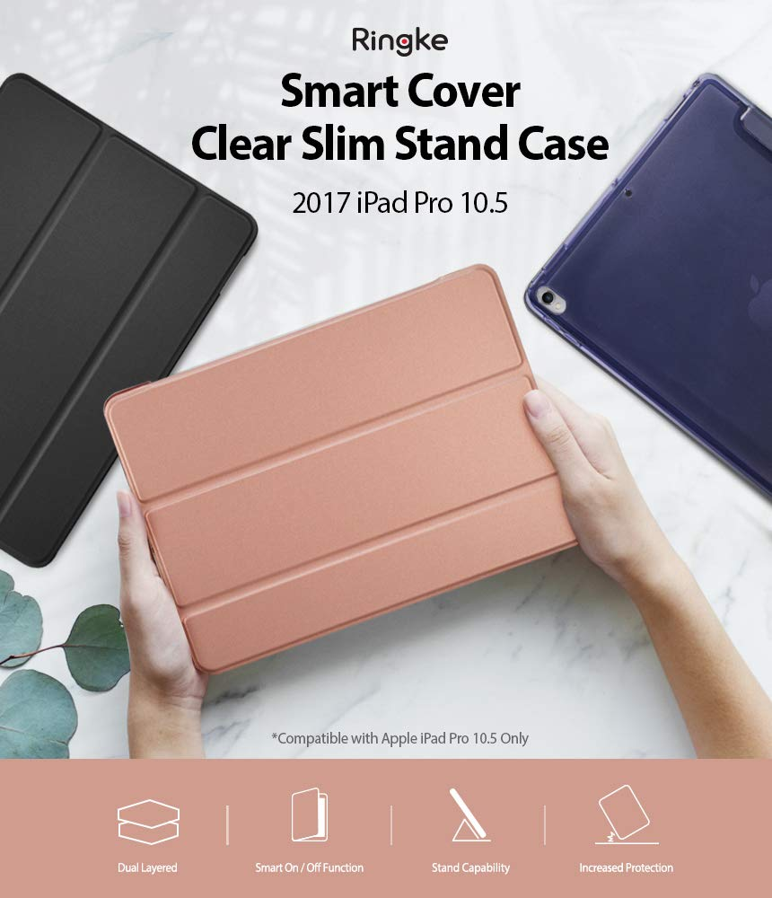 ringke smart cover clear slim case stand case for ipad rose gold