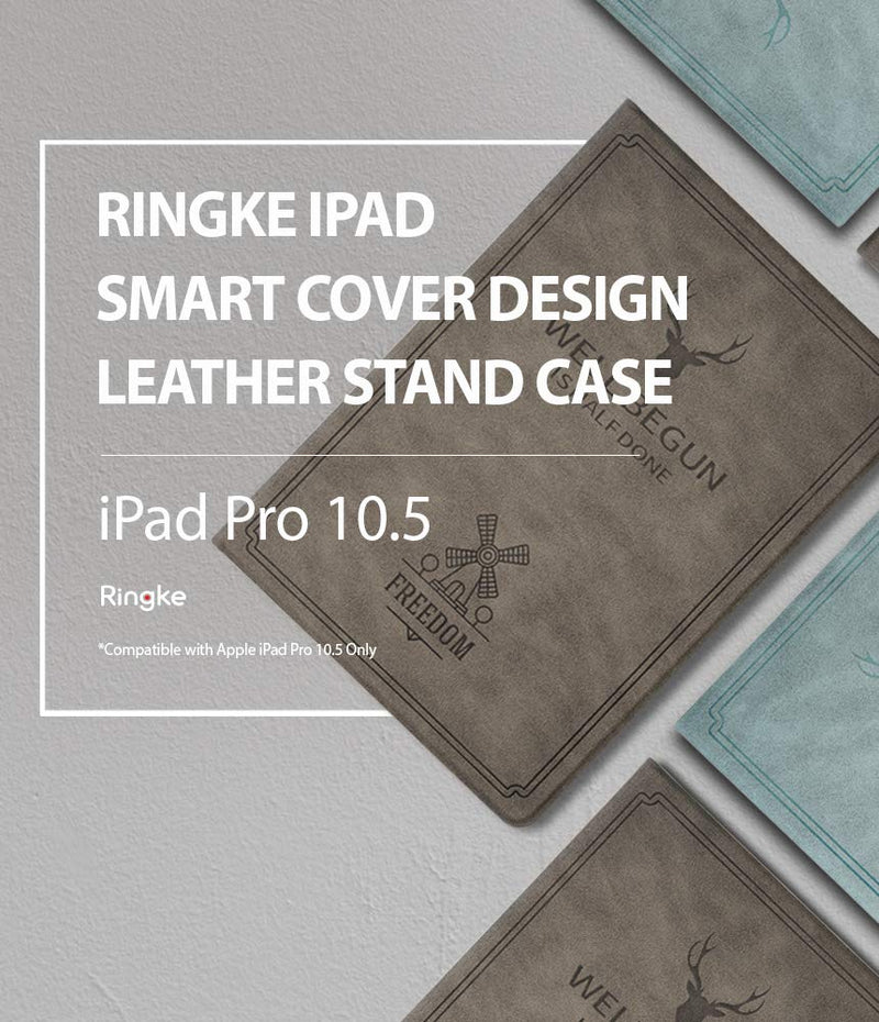 ringke smart cover design leather stand case for ipad pro 2016 17 blue - ipad pro 2017 (10.5 inch)