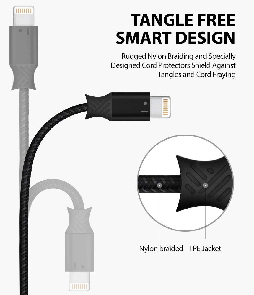 ringke smart fish charging cable lightning 2 set black gray