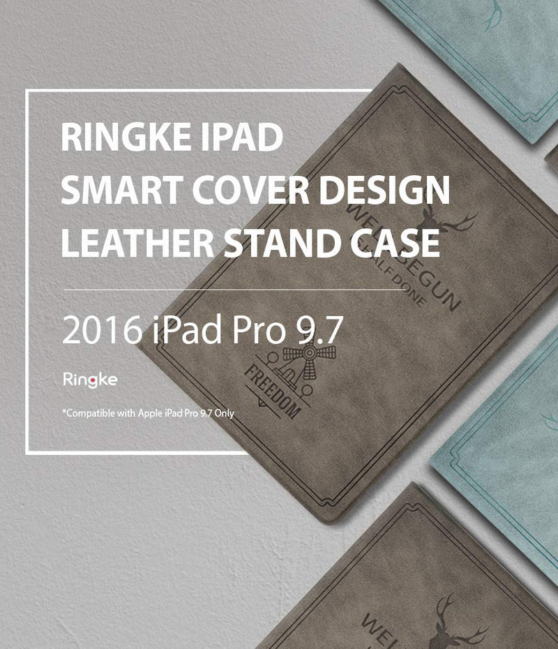 ringke smart cover design leather stand case for ipad pro 2016 9 7 blue - ipad pro 2016 (9.7 inch)