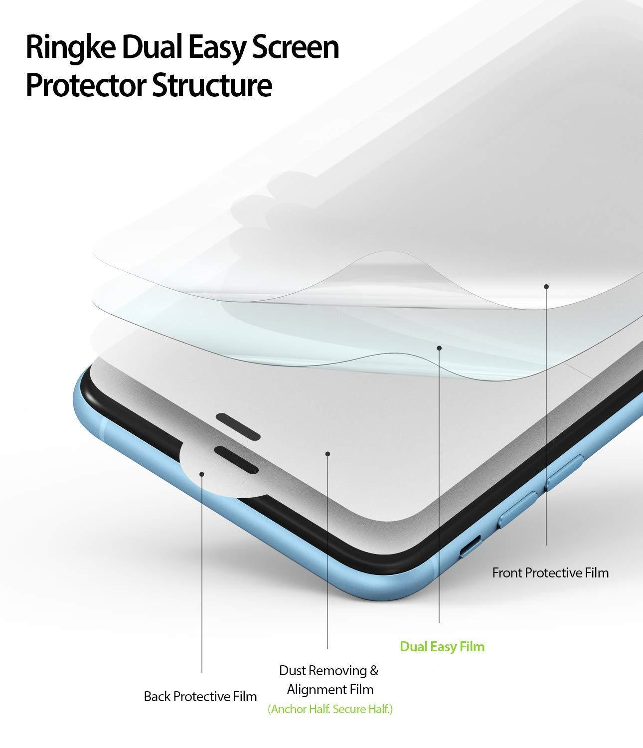 ringke dual easy film for iphone xr screen protector layered