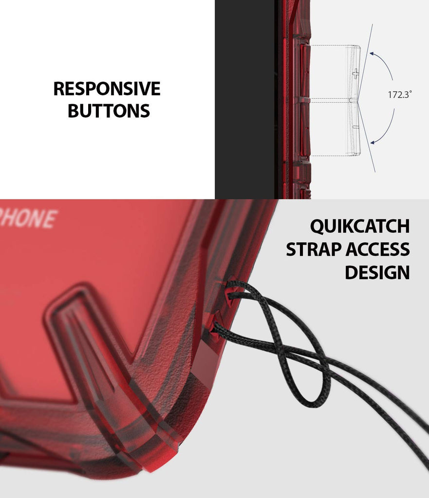 responsive buttons and quikcatch strap access design