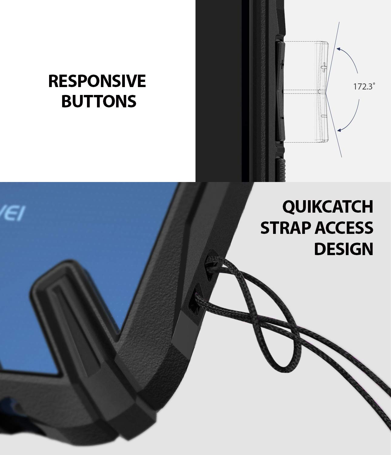 responsive buttons with quikcatch lanyard hole to attach additional accessories