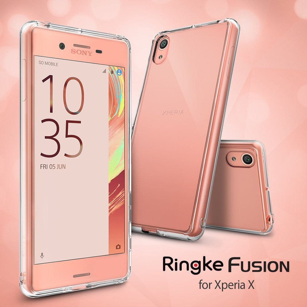 xperia x case, ringke fusion case crystal clear pc back tpu bumper case