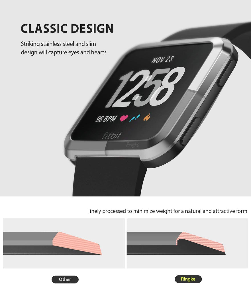 Ringke Bezel Styling Designed for Fitbit Versa Case Cover -Silver, FW-V-01, exact fit