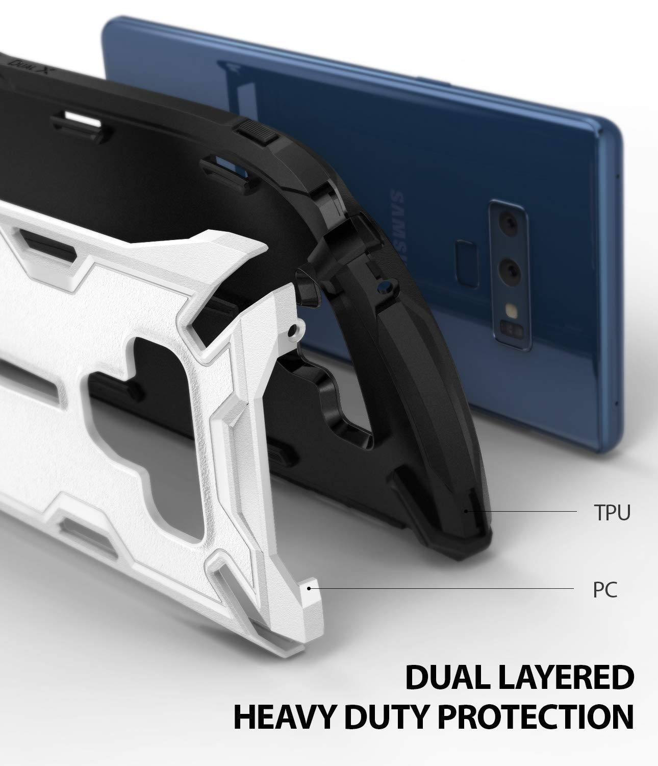 dual layer heavy duty protection with pc and tpu