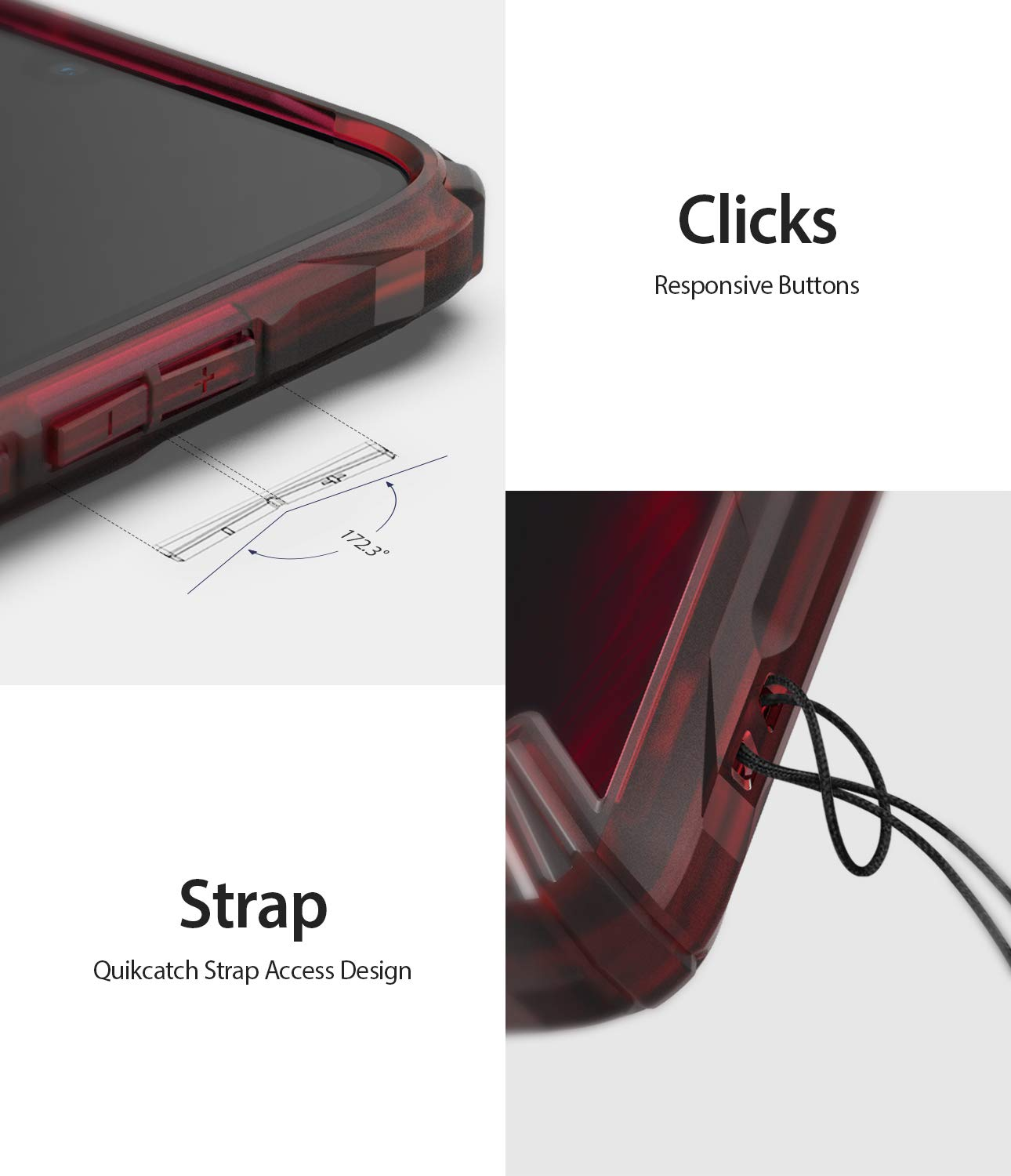 responsive button clicks / quikcatch strap access design