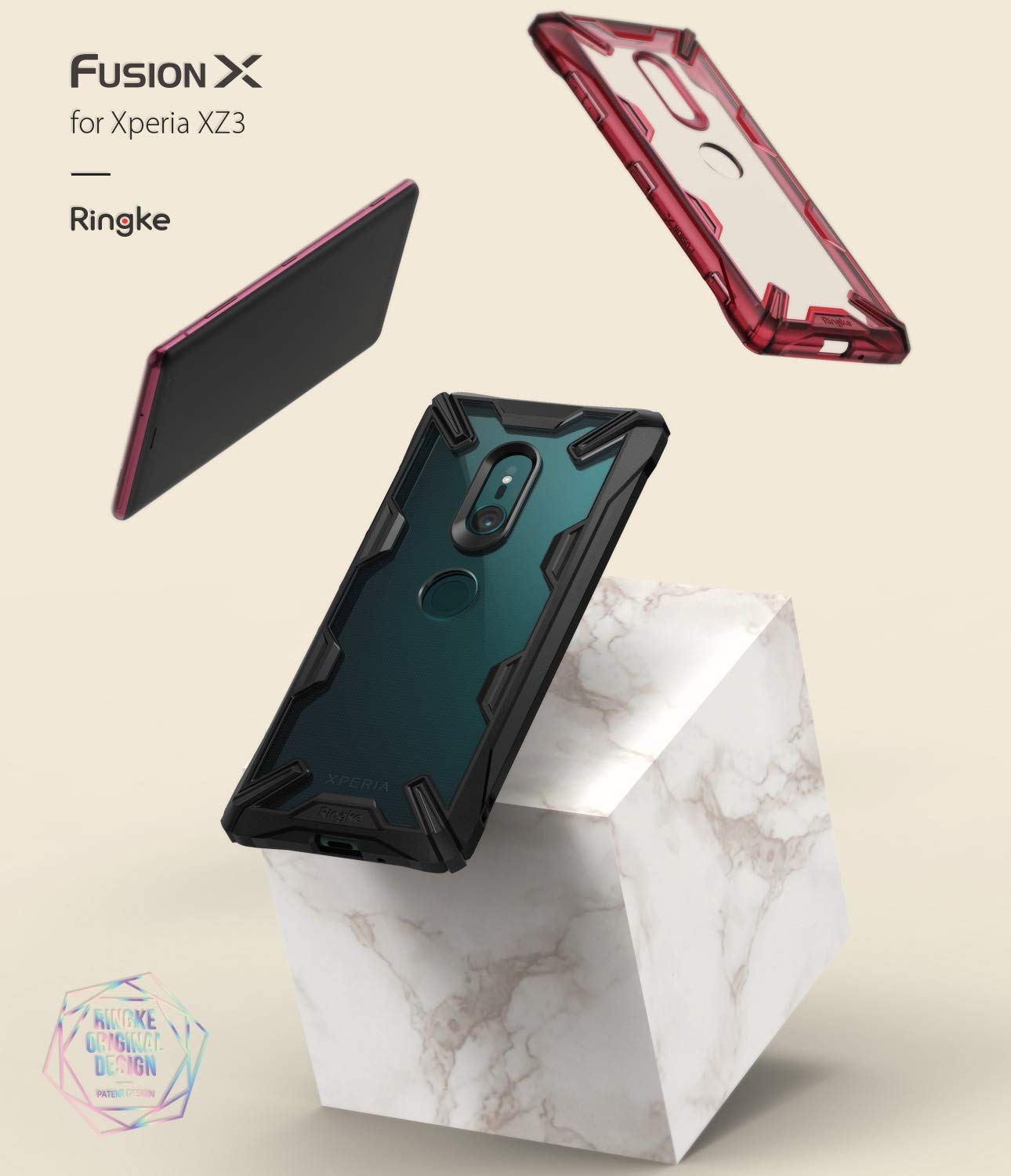 sony xperia xz3 fusion-x case ruby red