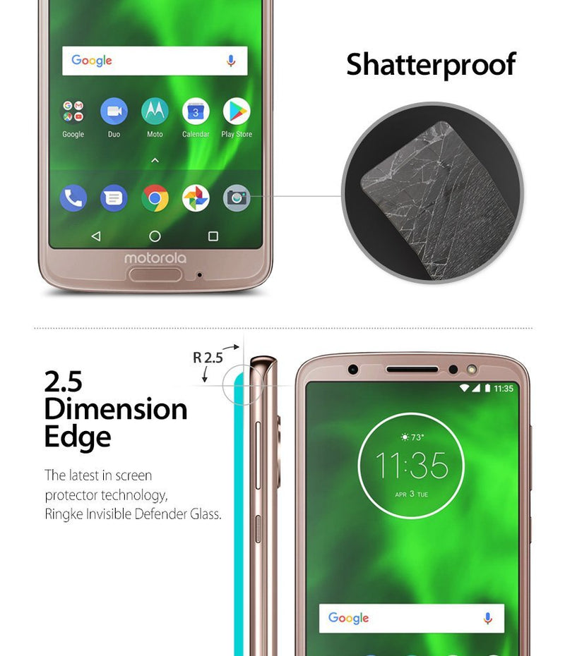moto g6 invisible defender tempered glass screen protector