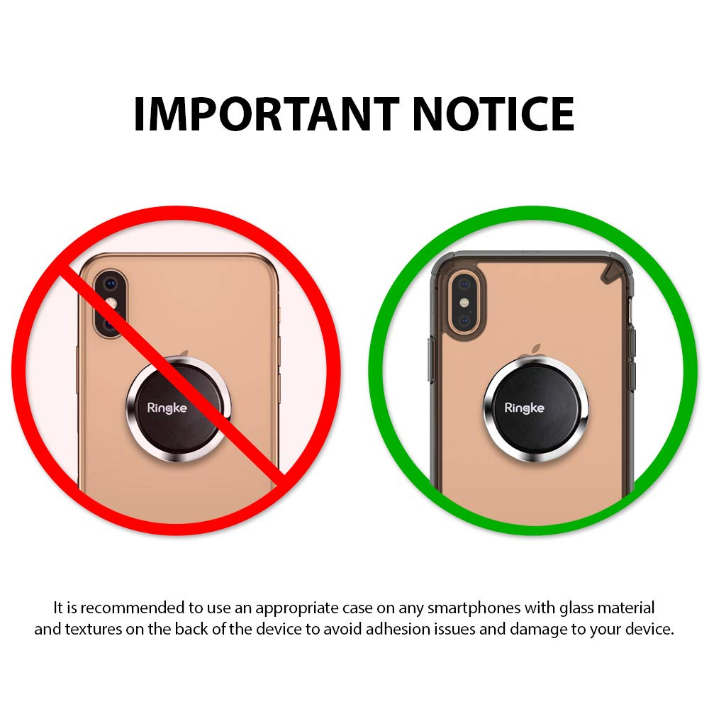 it is recommende to use an appropriate case on any smartphone with glass back to prevent any damage to the device by adhesive