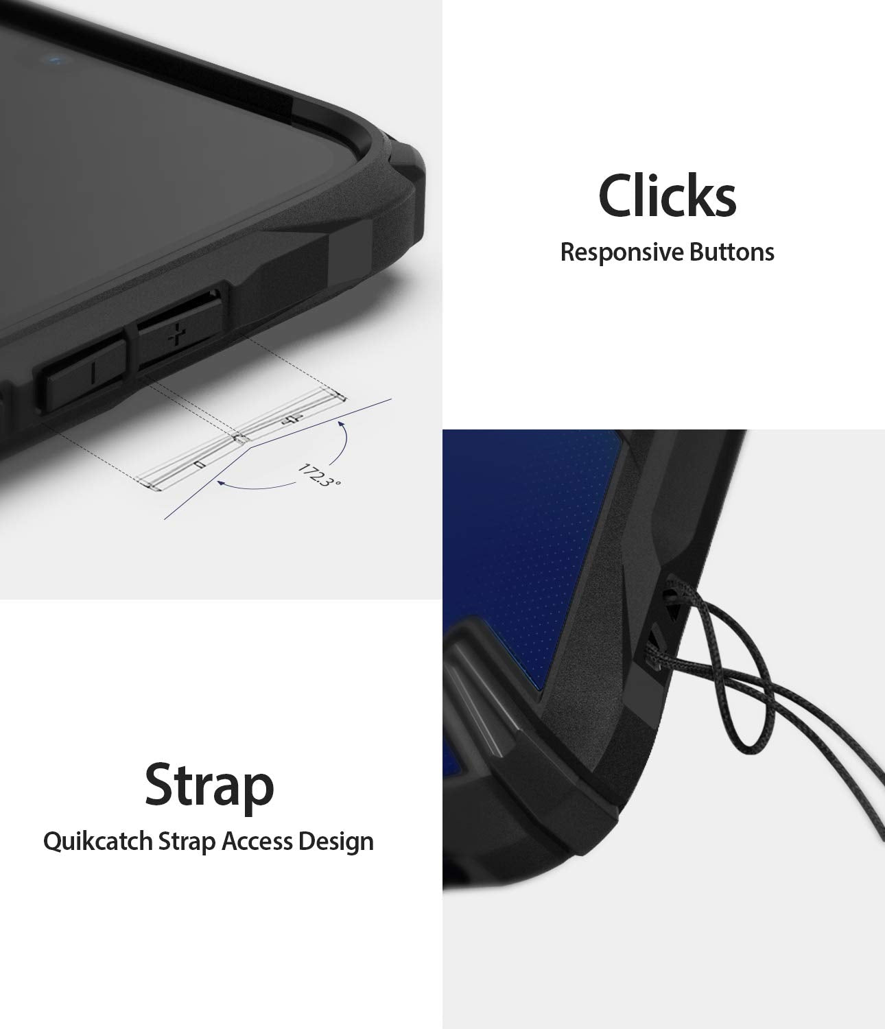 responsive buttons, quikcatch strap access design