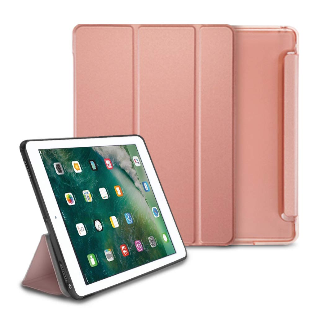 ringke smart cover clear slim case stand case for ipad pro 2017 (10.5 inch) - rose gold