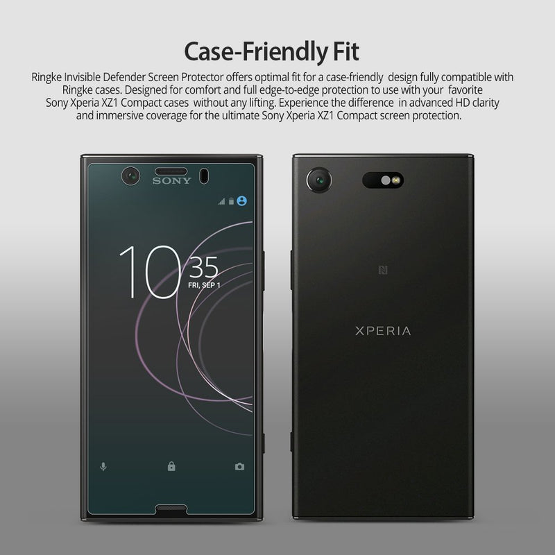 Sony Xperia XZ1 Compact, Ringke® [Full Coverage] 2-Pack Screen Protector