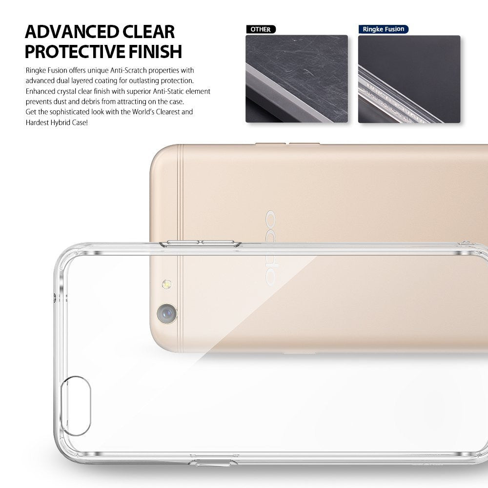 OPPO R9s Case, Ringke® [FUSION] Crystal Clear PC Back TPU Bumper Case
