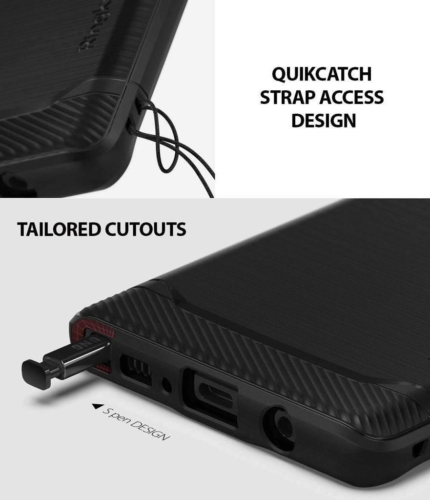 quikcatch strap access design with tailored cutouts
