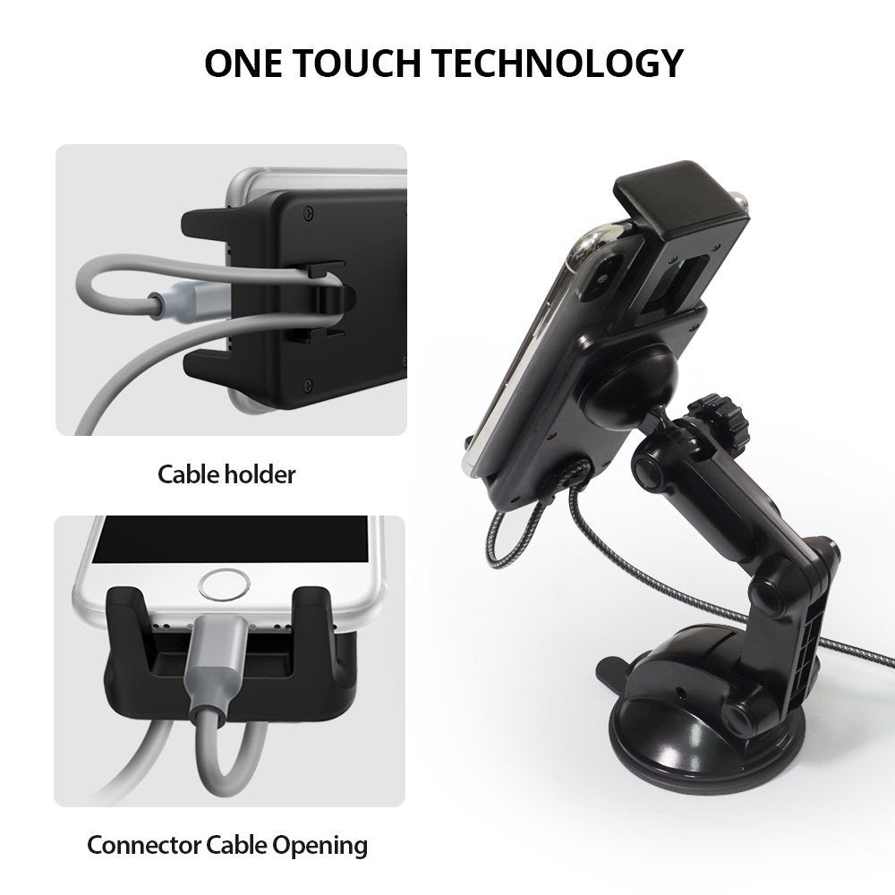 ringke monster car mount - one touch technology with cable organization
