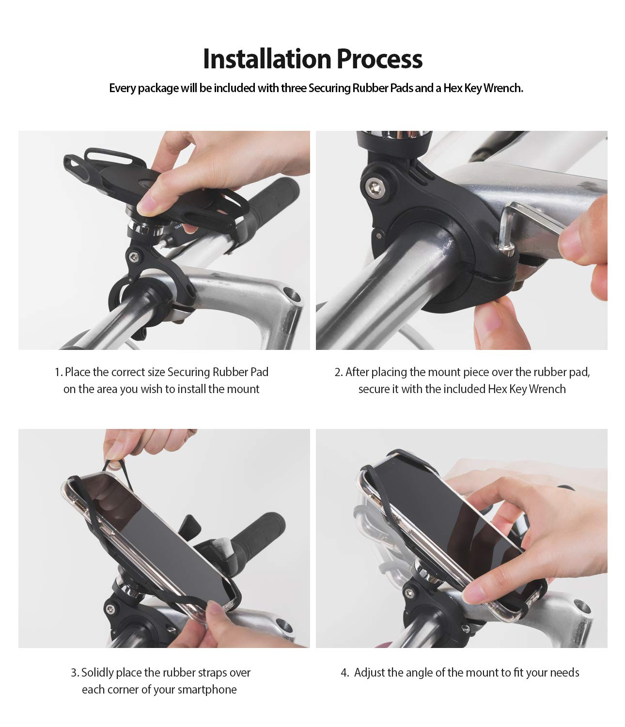 ringke spider grip bike mount with secure elastic bands - installation process