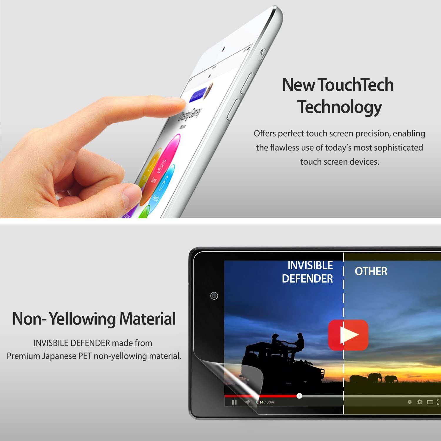new touchtech technology, non yellowing material