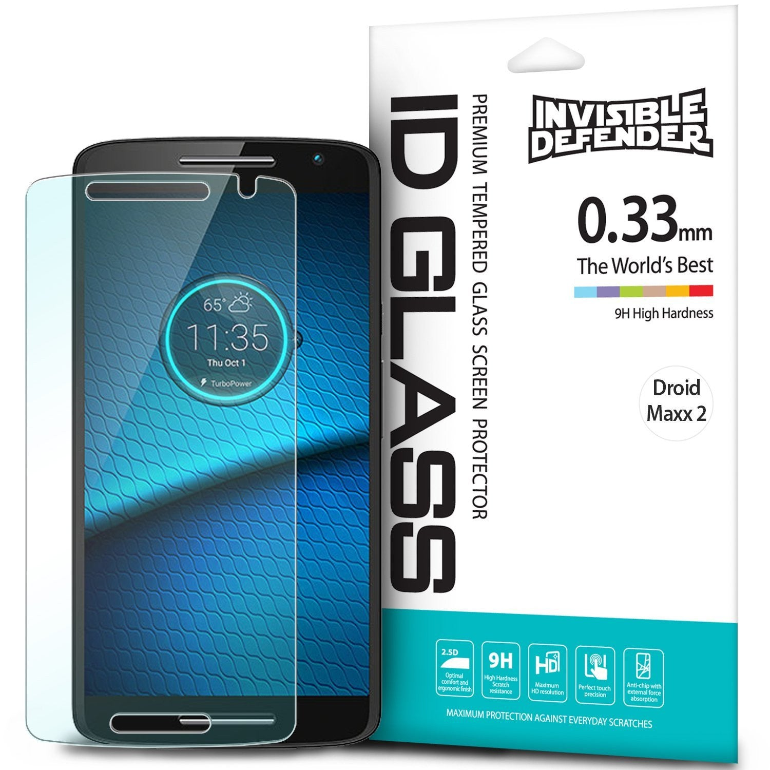 droid maxx 2 invisible defender tempered glass screen protector