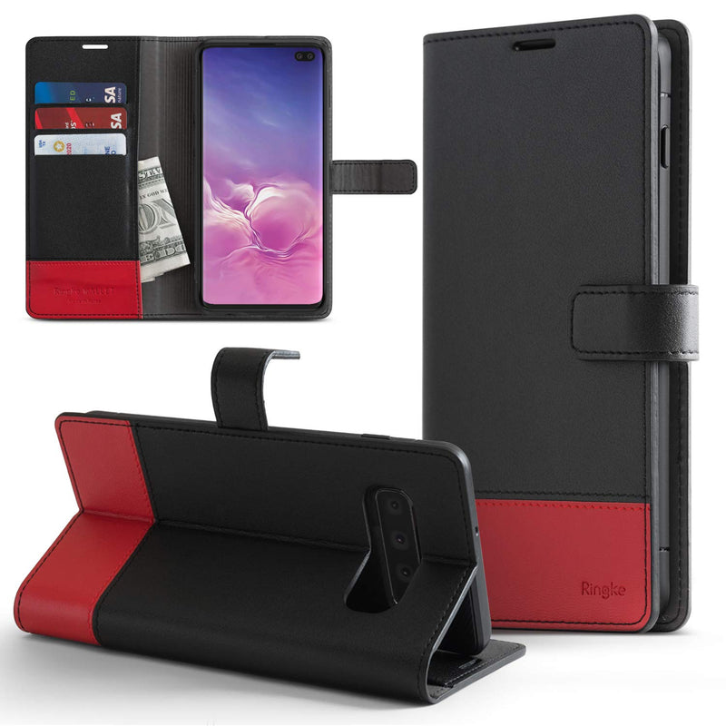 galaxy s10 wallet black & red