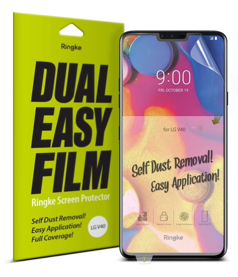 LG V40 ThinQ [Dual Easy Full Cover] Screen Protector [2 Pack]