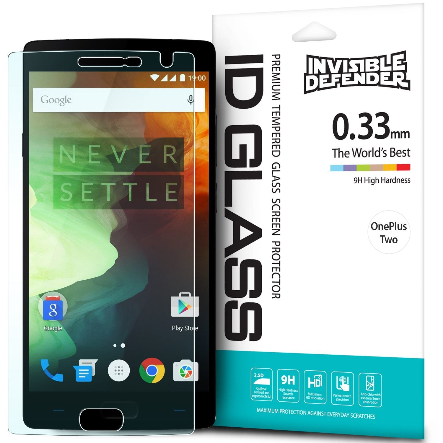 oneplus 2, ringke invisible defender 0.33mm tempered glass screen protector