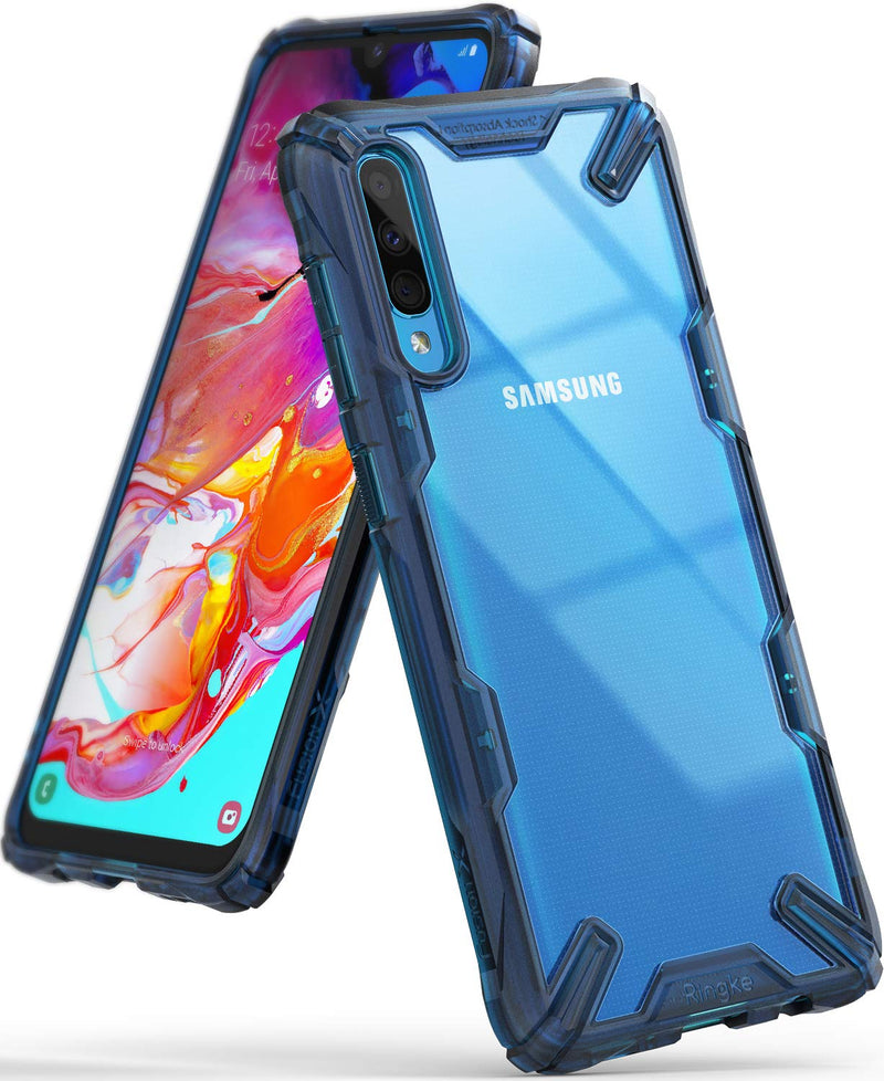Galaxy A70, ringke fusion-x case, space blue