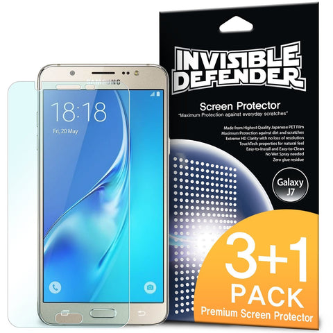 Galaxy J7 2016, Ringke® [INVISIBLE DEFENDER] 3+1 Pack Screen Protector