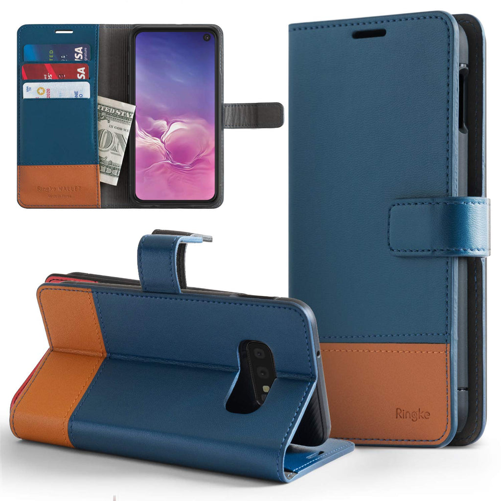 ringke wallet designed for samsung galaxy s10e navy and brown