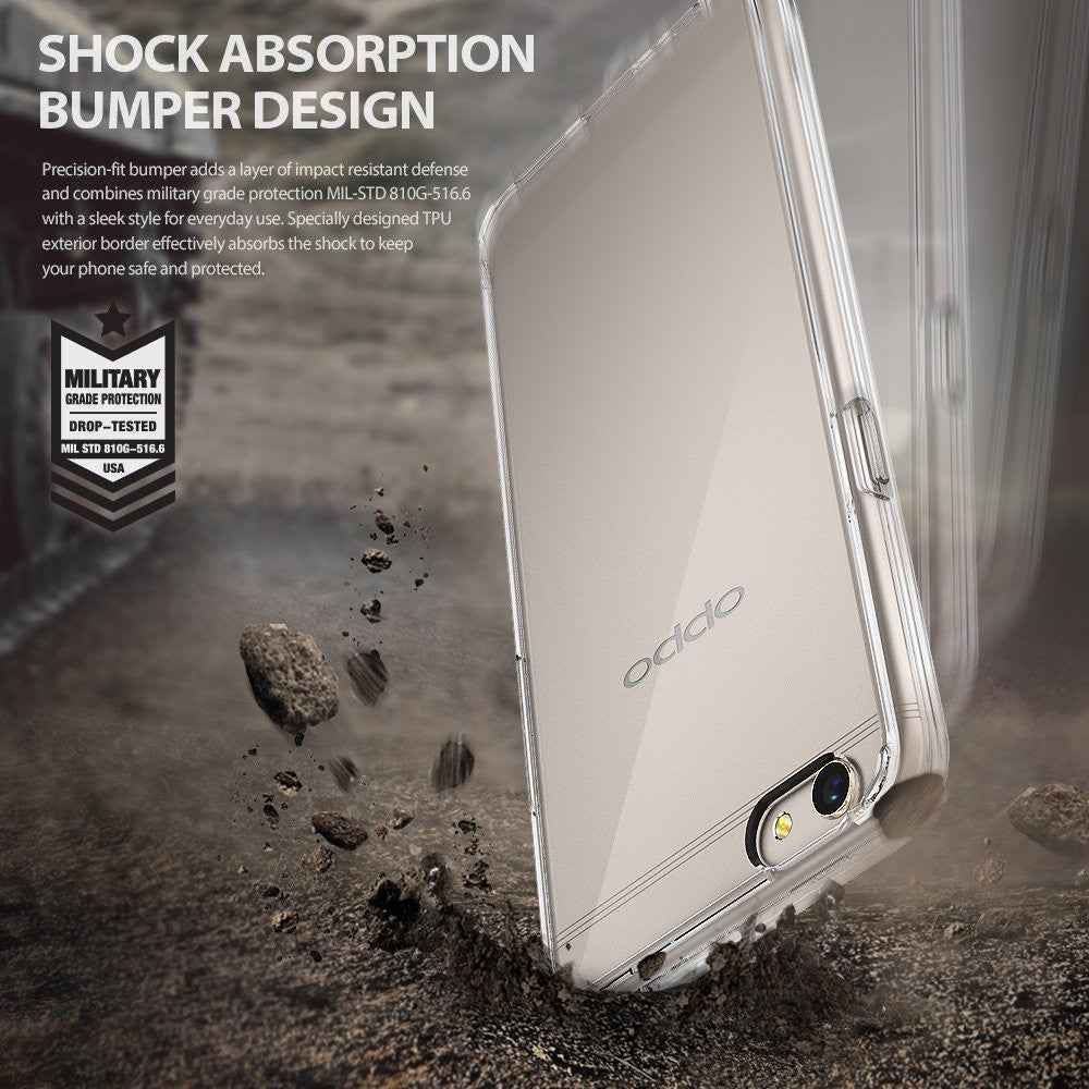 OPPO R9s Plus Case, Ringke® [FUSION] Crystal Clear PC Back TPU Bumper Case
