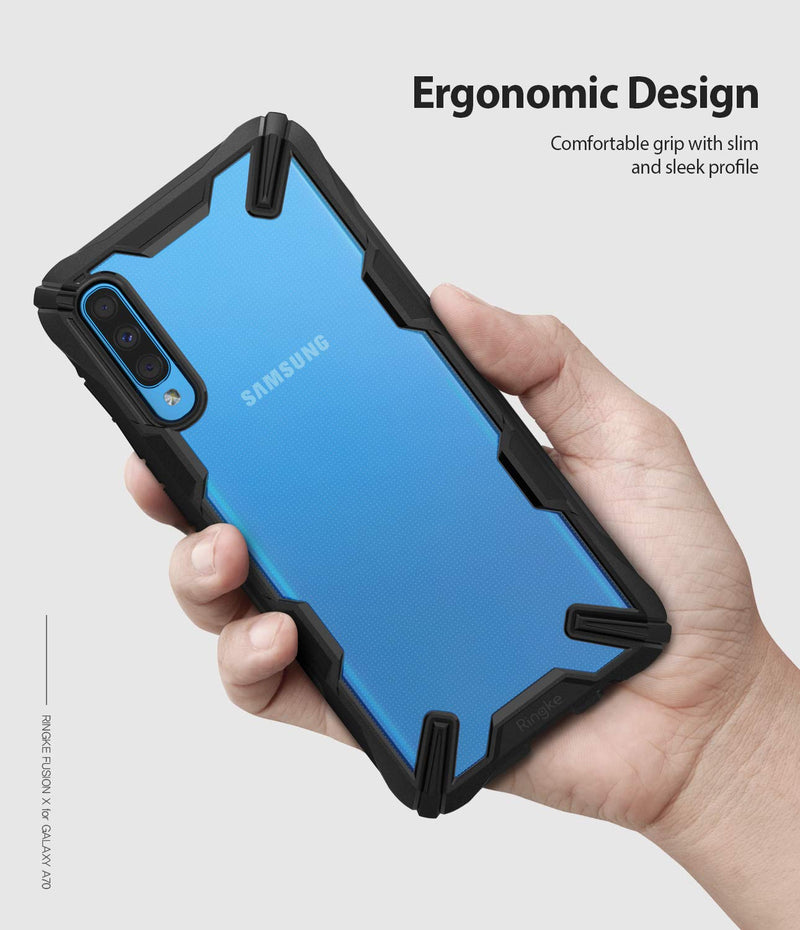 Galaxy A70, ringke fusion-x case, black, ergonomic design