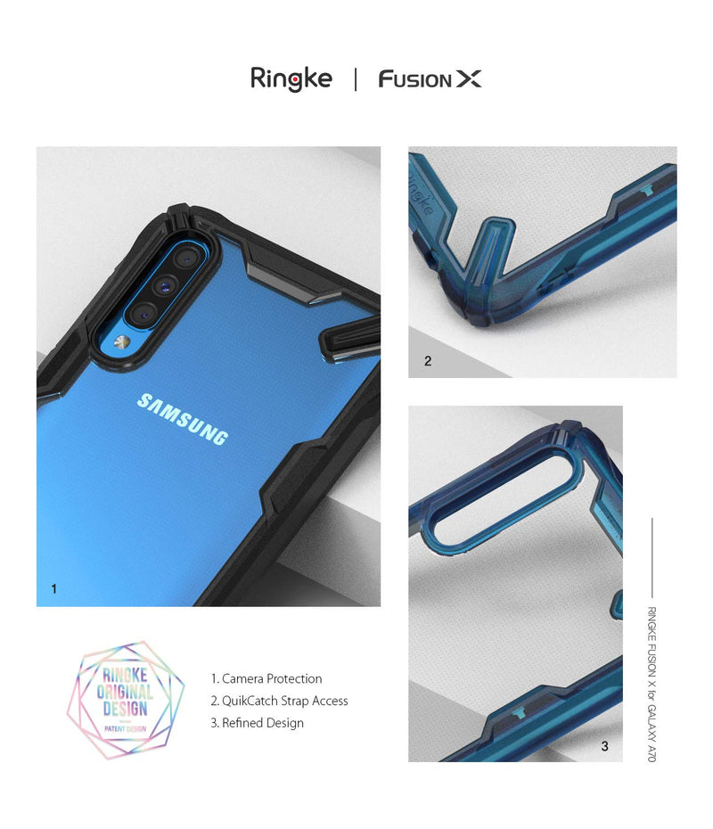 Galaxy A70, ringke fusion-x case, space blue, black