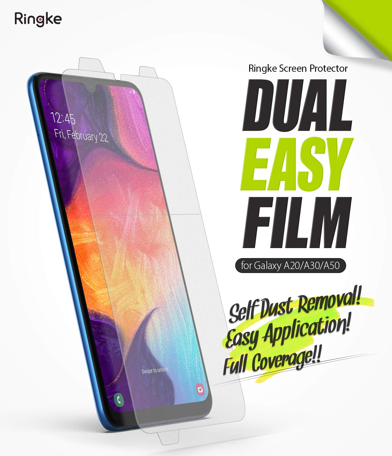 Ringke Dual Easy Film [2 Pack] Compatible with Galaxy A30