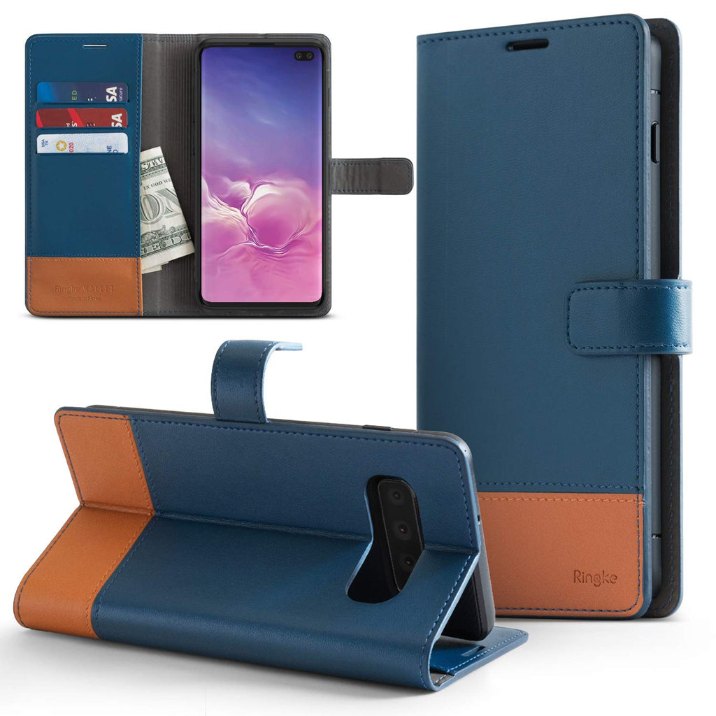 ringke galaxy s10 wallet case navy & brown color