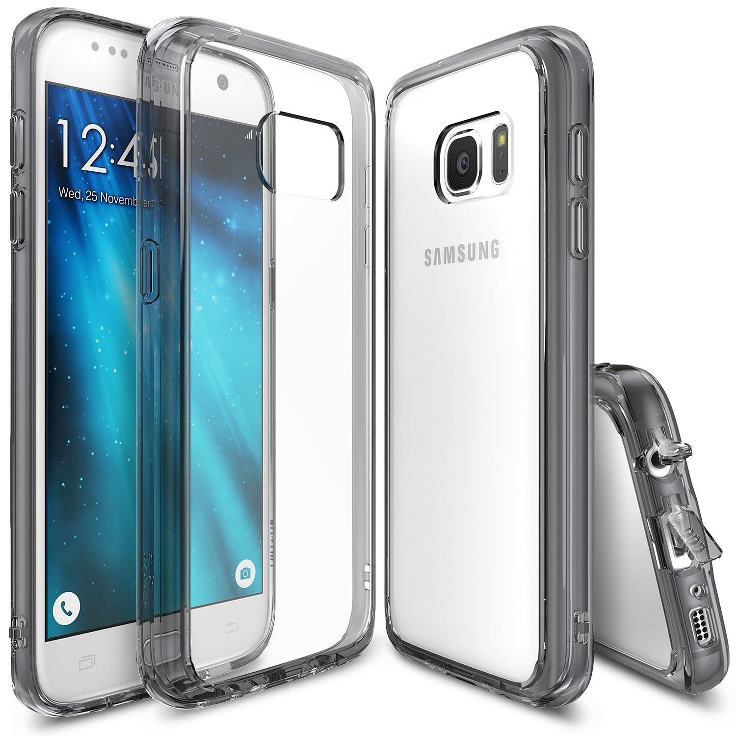 ringke fusion clear transparent hard back cover case for galaxy s7 smoke black