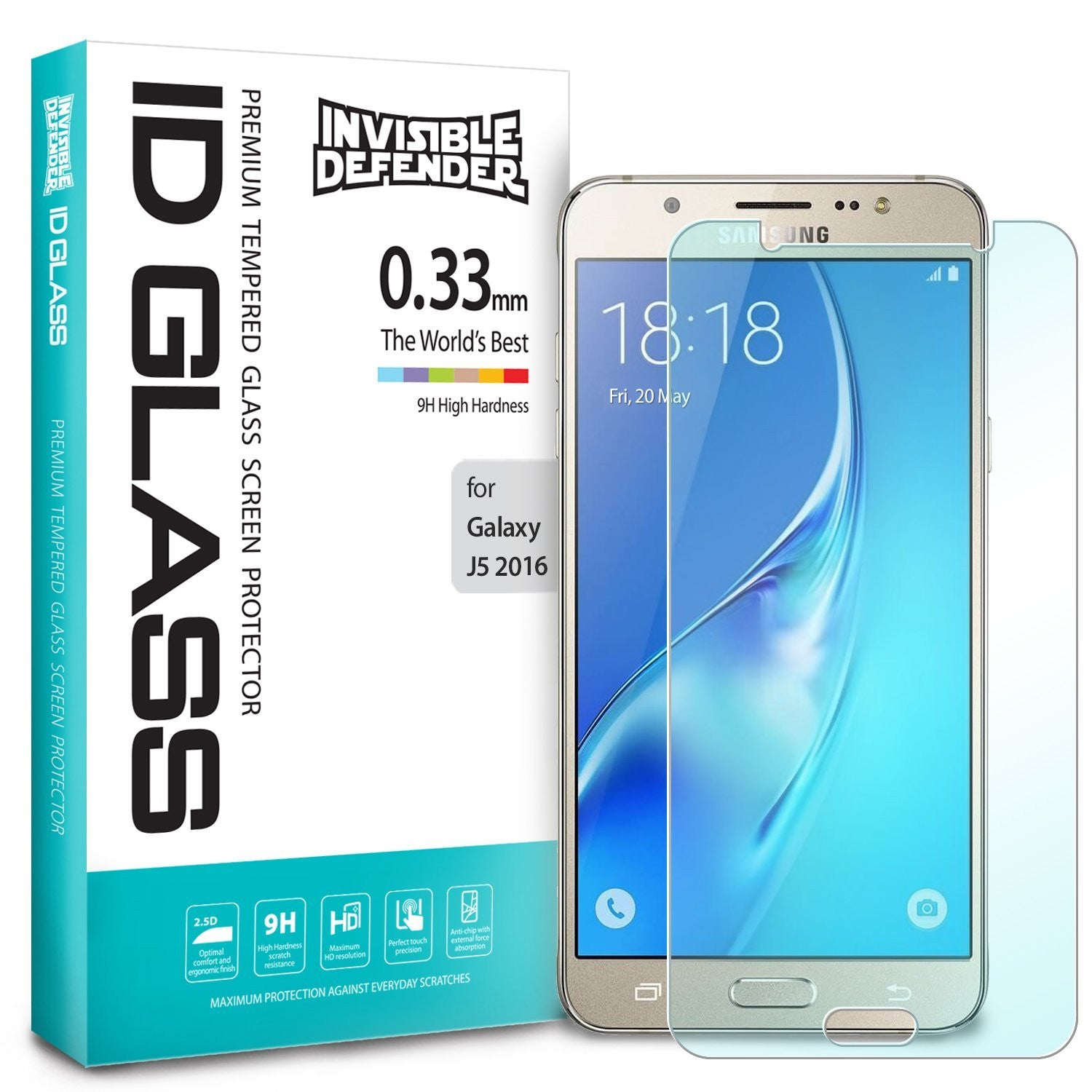 galaxy j5 2016 invisible defender tempered glass screen protector