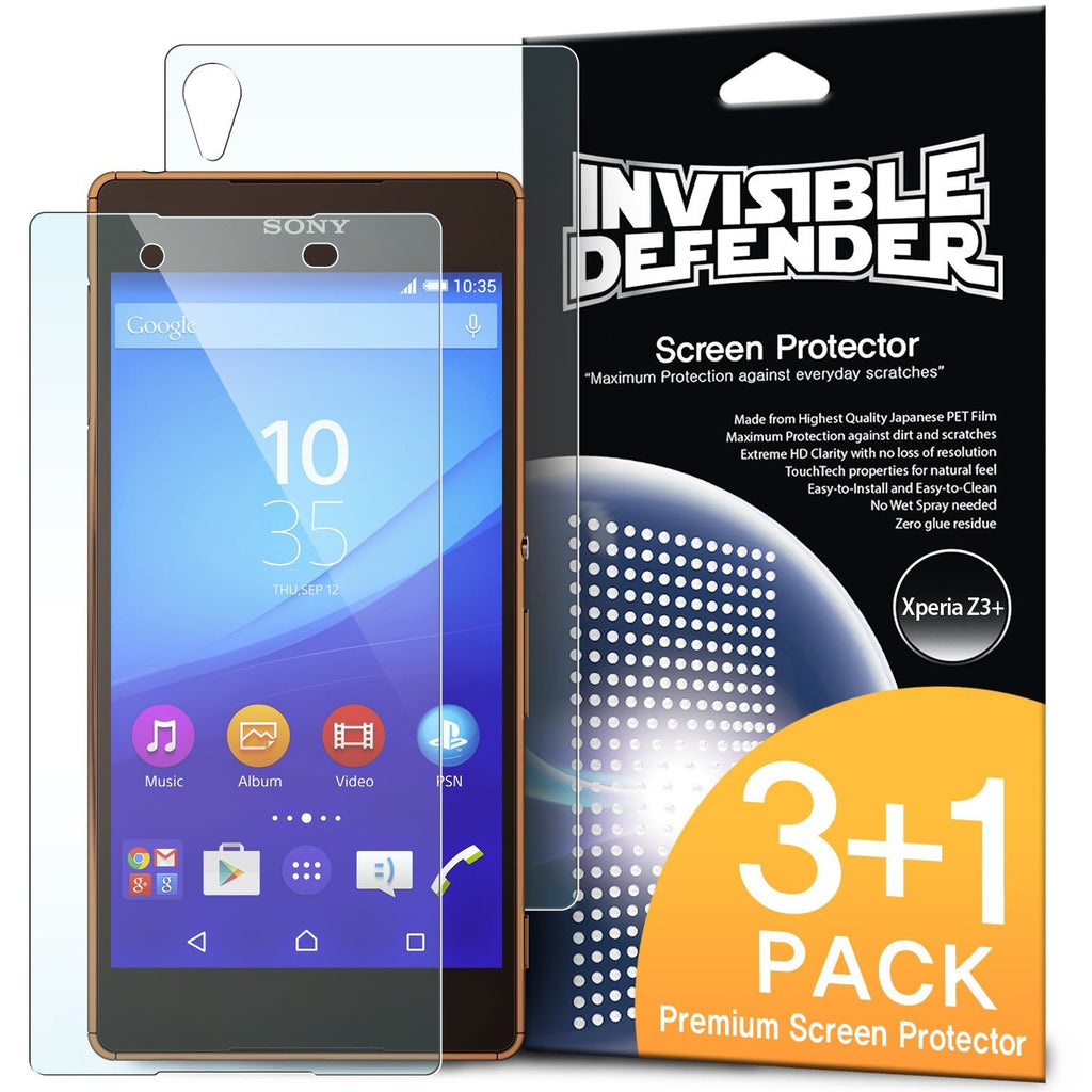 xperia z3+, ringke invisible defender 3+1 pack screen protector