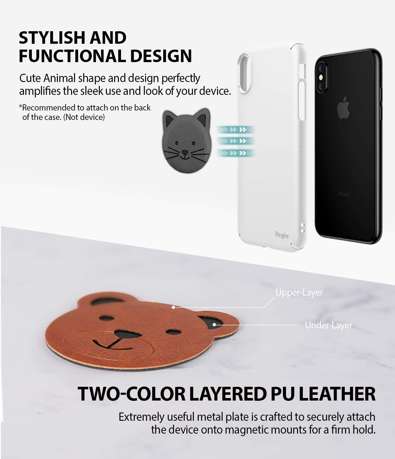 ringke magnetic character metal plate kit animal edition stylish and functional design with two color layered pu leather