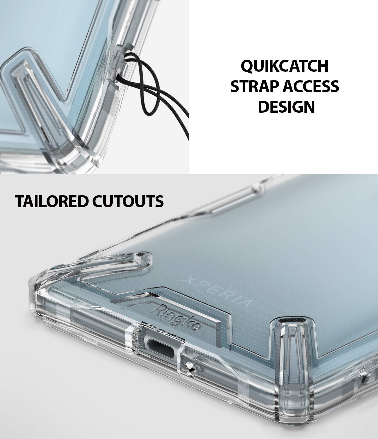 quikcatch strap access hole design with tailored cutouts