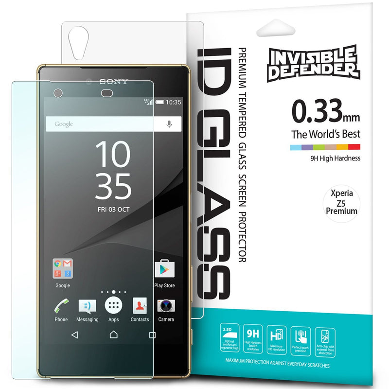 xperia z5 premium, ringke invisible defender 0.33mm tempered glass screen protector