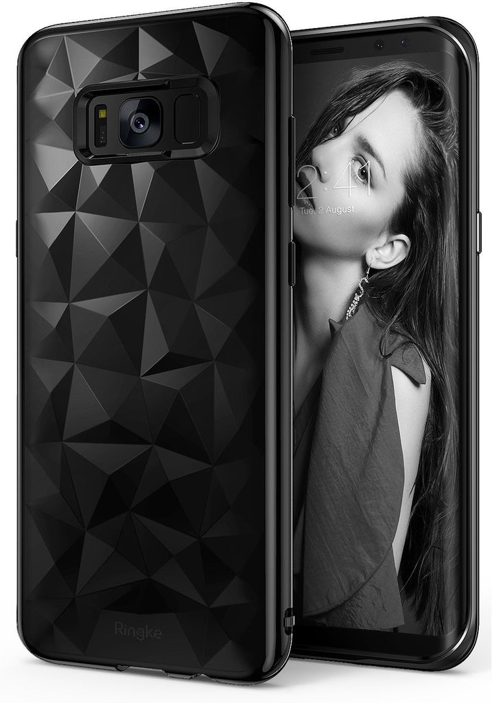 ringke air prism design back 3d flexible cover case for galaxy s8 ink black